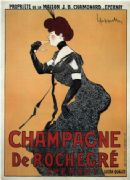 Vintage Champagne De Rocher Epernay Advertising Poster.
